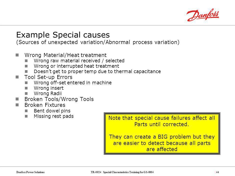 TR-0024 Special Characteristics Training for GS-0004Danfoss Power Solutions| 44 Example Special causes (Sources of unexpected variation/Abnormal proce
