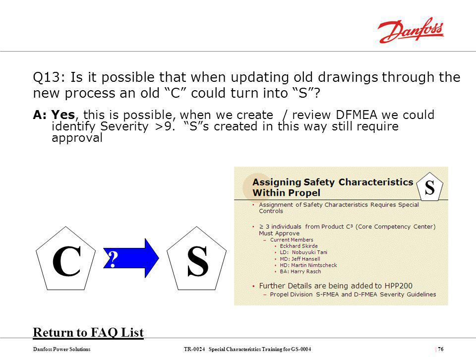 TR-0024 Special Characteristics Training for GS-0004Danfoss Power Solutions| 76 A: Yes, this is possible, when we create / review DFMEA we could ident