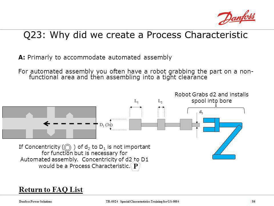 TR-0024 Special Characteristics Training for GS-0004Danfoss Power Solutions| 86 A: Primarly to accommodate automated assembly For automated assembly y