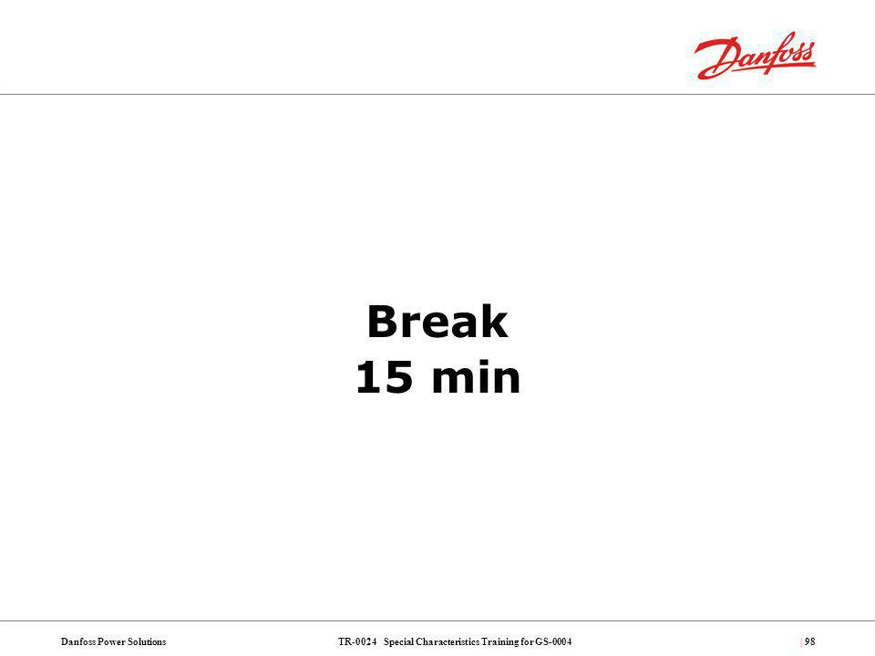 TR-0024 Special Characteristics Training for GS-0004Danfoss Power Solutions| 98 Break 15 min