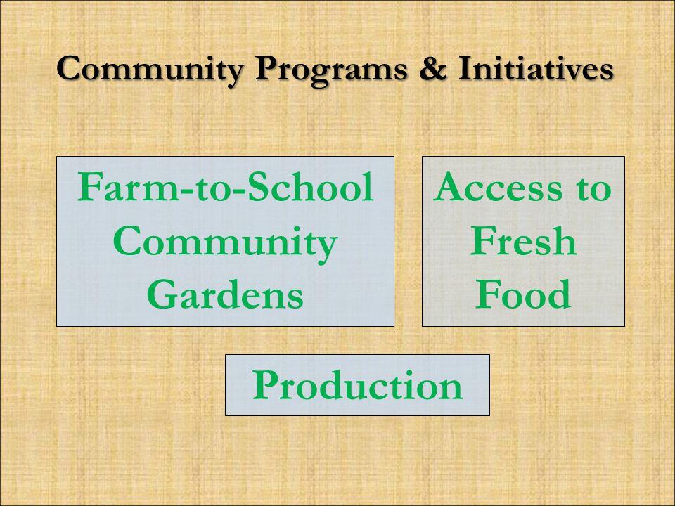 Community Programs & Initiatives Access to Fresh Food Farm-to-School Community Gardens Production