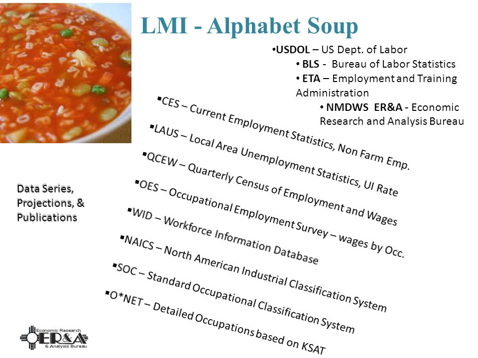 LMI - Alphabet Soup Data Series, Projections, & Publications USDOL – US Dept.