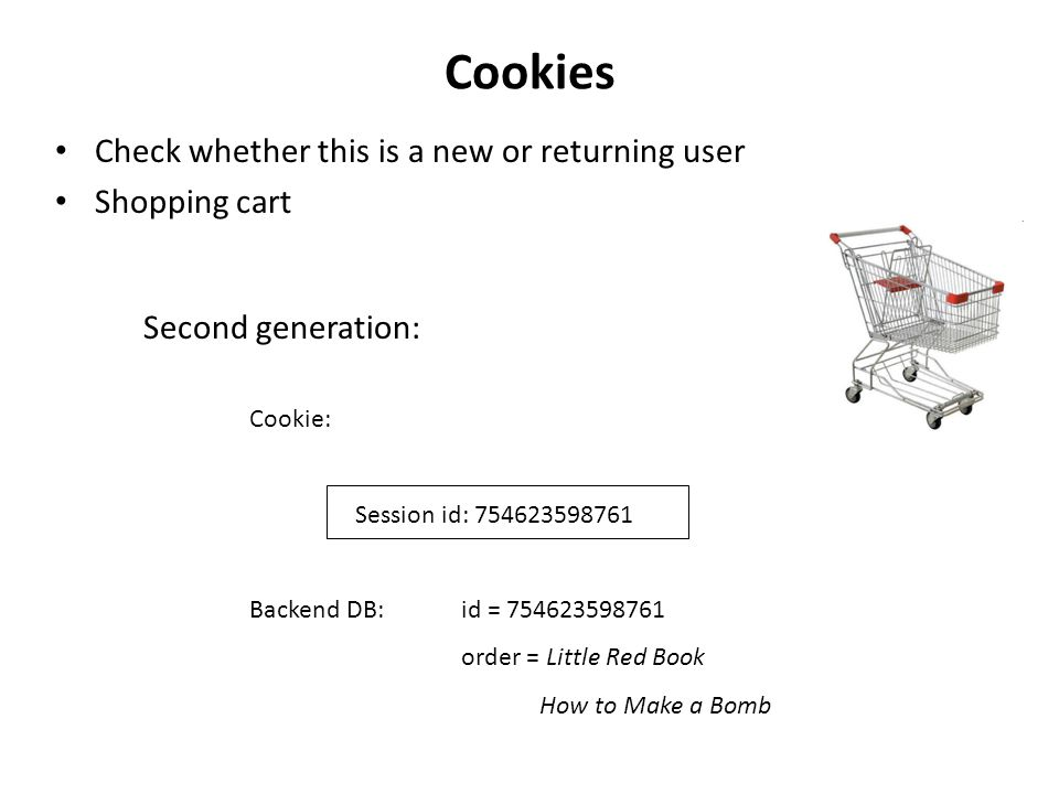 Cookies Check whether this is a new or returning user Shopping cart Second generation: Cookie: Session id: 754623598761 Backend DB: id = 754623598761 order = Little Red Book How to Make a Bomb