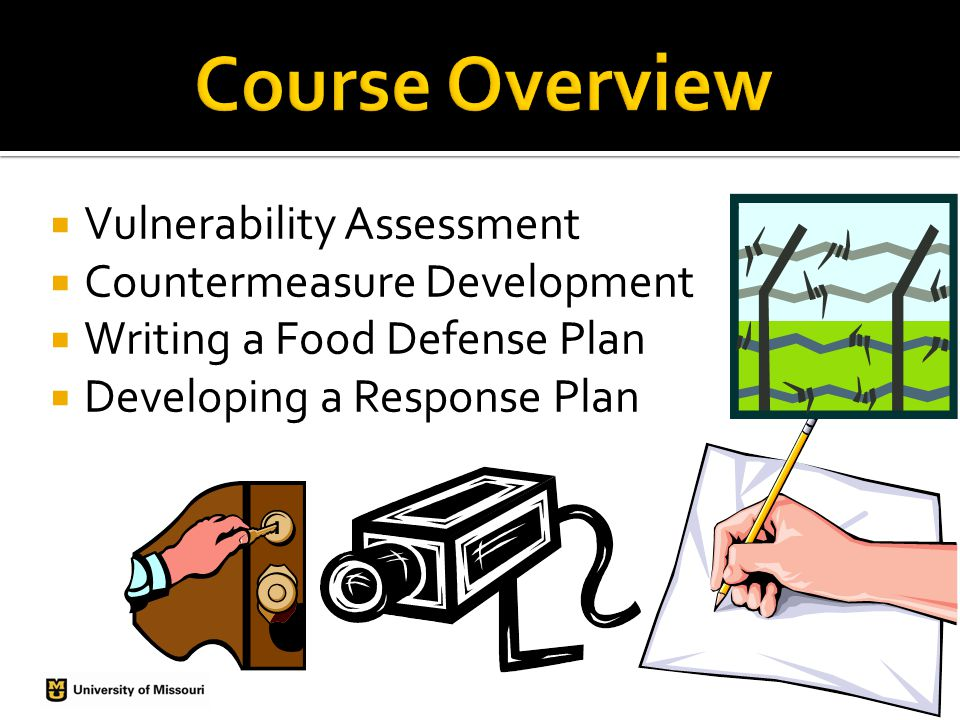 Vulnerability Assessment Countermeasure Development Writing a Food Defense Plan Developing a Response Plan