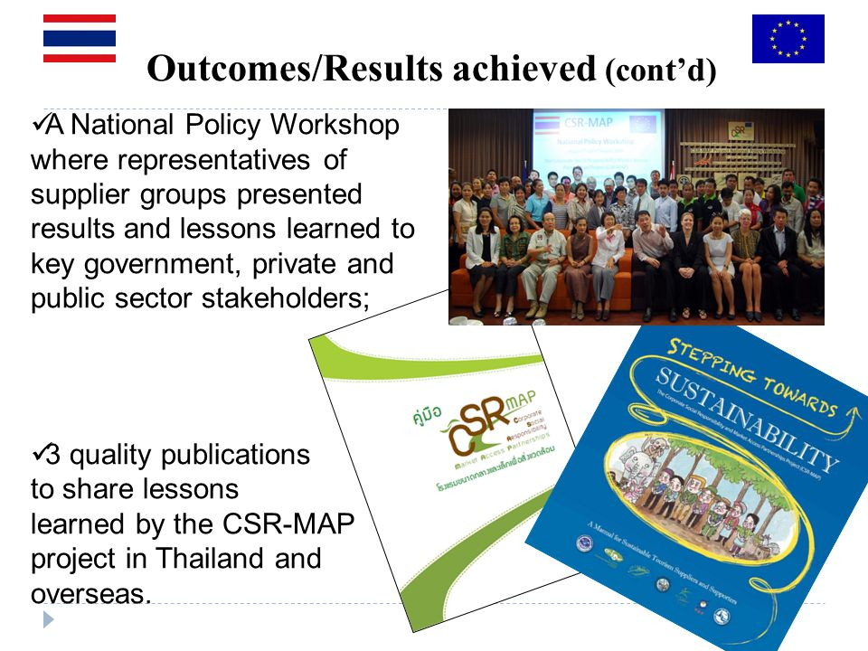 Outcomes/Results achieved (contd) A National Policy Workshop where representatives of supplier groups presented results and lessons learned to key government, private and public sector stakeholders; 3 quality publications to share lessons learned by the CSR-MAP project in Thailand and overseas.