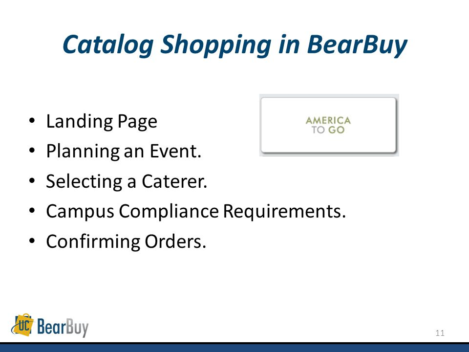11 Catalog Shopping in BearBuy Landing Page Planning an Event.
