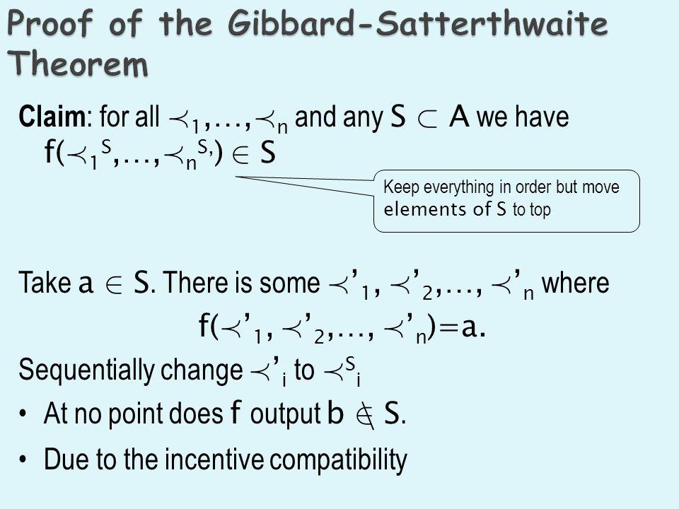 Claim : for all Á 1,…, Á n and any S ½ A we have f( Á 1 S,…, Á n S, ) 2 S Take a 2 S. There is some Á 1, Á 2,…, Á n where f( Á 1, Á 2,…, Á n )=a. Sequ