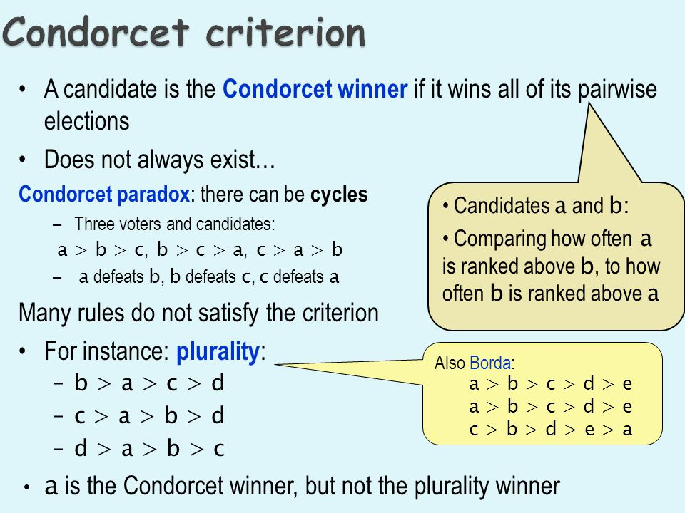 A candidate is the Condorcet winner if it wins all of its pairwise elections Does not always exist… Condorcet paradox : there can be cycles –Three voters and candidates: a > b > c, b > c > a, c > a > b – a defeats b, b defeats c, c defeats a Many rules do not satisfy the criterion For instance: plurality : –b > a > c > d –c > a > b > d –d > a > b > c a is the Condorcet winner, but not the plurality winner Candidates a and b: Comparing how often a is ranked above b, to how often b is ranked above a Also Borda: a > b > c > d > e c > b > d > e > a