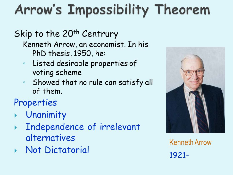 Skip to the 20 th Centrury Kenneth Arrow, an economist. In his PhD thesis, 1950, he: Listed desirable properties of voting scheme Showed that no rule
