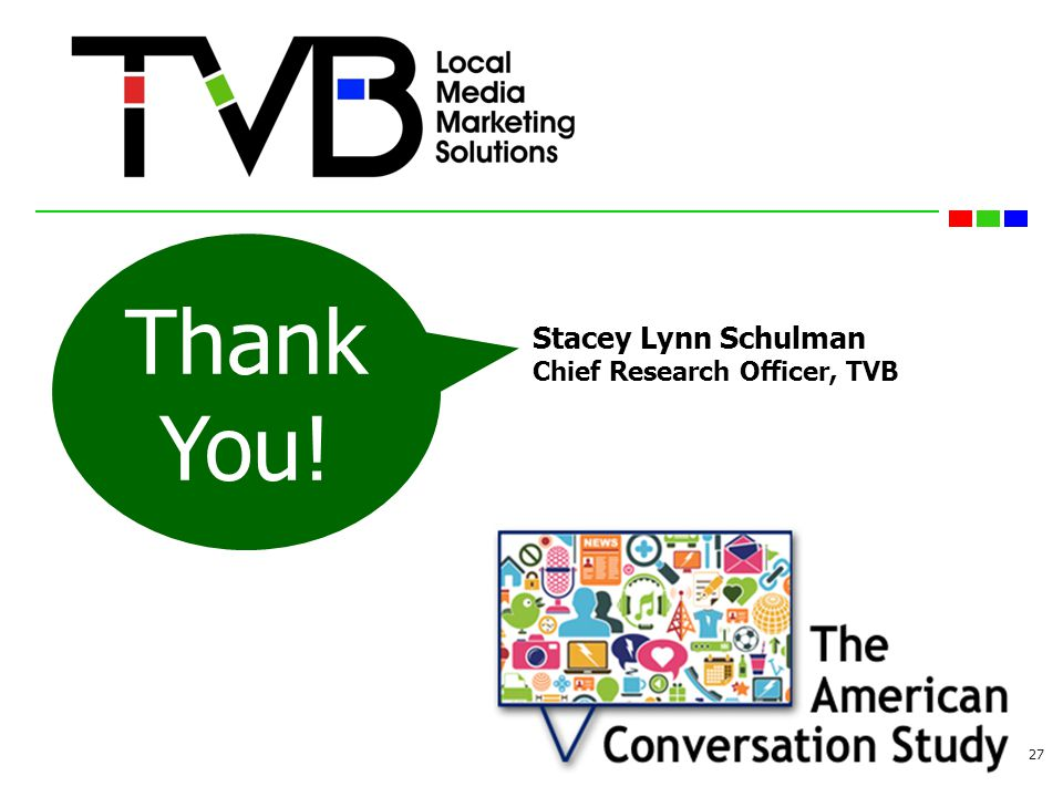 27 Stacey Lynn Schulman Chief Research Officer, TVB Thank You!