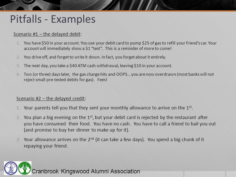 Cranbrook Kingswood Alumni Association Pitfalls - Examples Scenario #1 – the delayed debit: 1.You have $50 in your account.