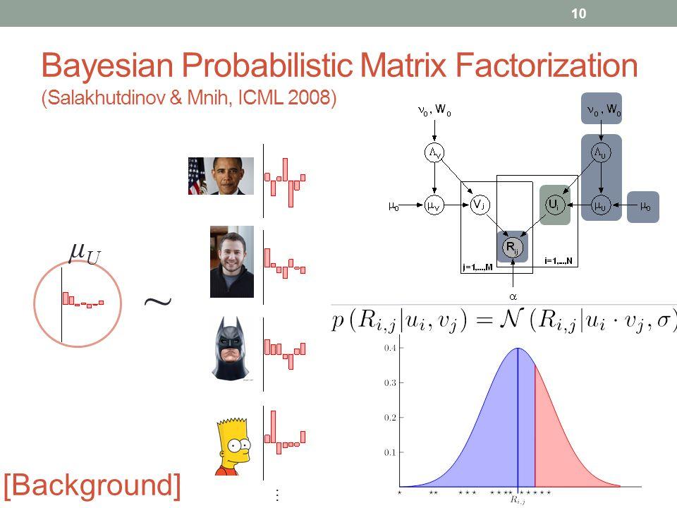 Bayesian Probabilistic Matrix Factorization (Salakhutdinov & Mnih, ICML 2008) μUμU ~ … 10 [Background]
