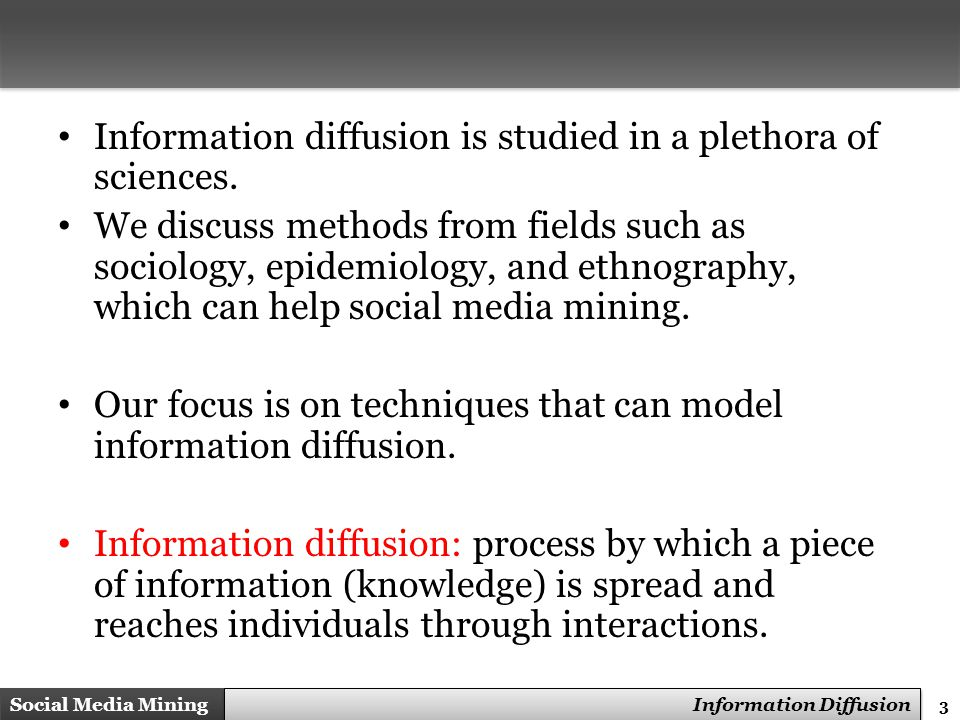 14 Social Media Mining Measures and Metrics 14 Social Media Mining Information Diffusion Designing a Herd Behavior Experiment There needs to be a decision made.