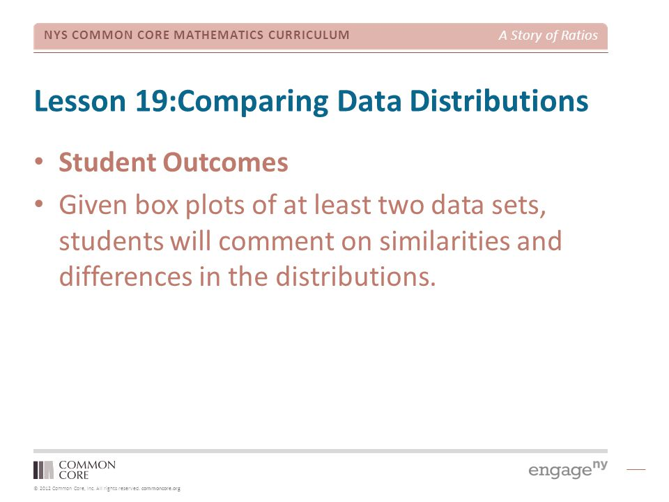 © 2012 Common Core, Inc. All rights reserved. commoncore.org NYS COMMON CORE MATHEMATICS CURRICULUM A Story of Ratios Lesson 19:Comparing Data Distrib