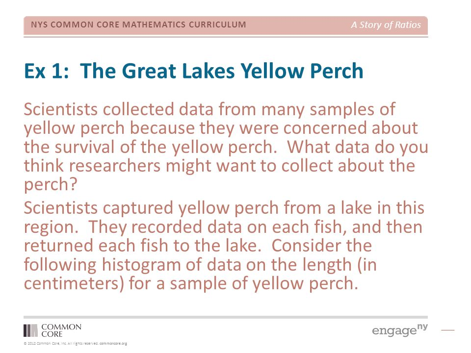 © 2012 Common Core, Inc. All rights reserved. commoncore.org NYS COMMON CORE MATHEMATICS CURRICULUM A Story of Ratios Ex 1: The Great Lakes Yellow Per