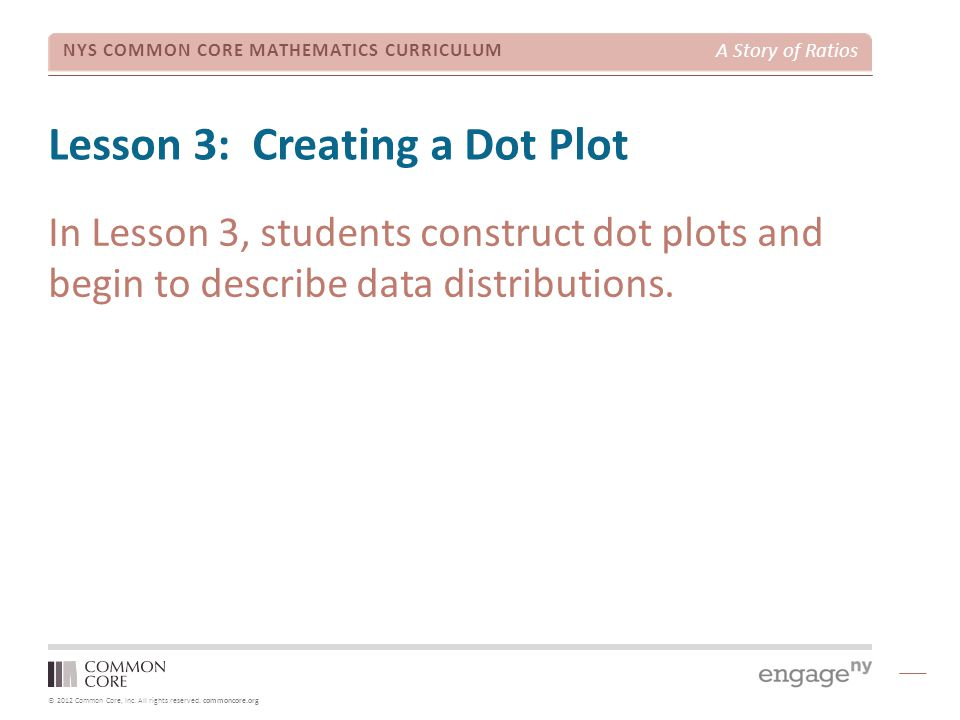 © 2012 Common Core, Inc. All rights reserved. commoncore.org NYS COMMON CORE MATHEMATICS CURRICULUM A Story of Ratios Lesson 3: Creating a Dot Plot In