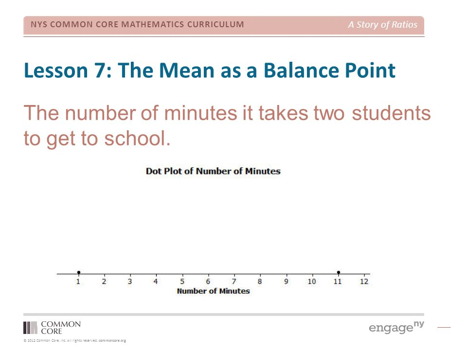 © 2012 Common Core, Inc. All rights reserved. commoncore.org NYS COMMON CORE MATHEMATICS CURRICULUM A Story of Ratios Lesson 7: The Mean as a Balance
