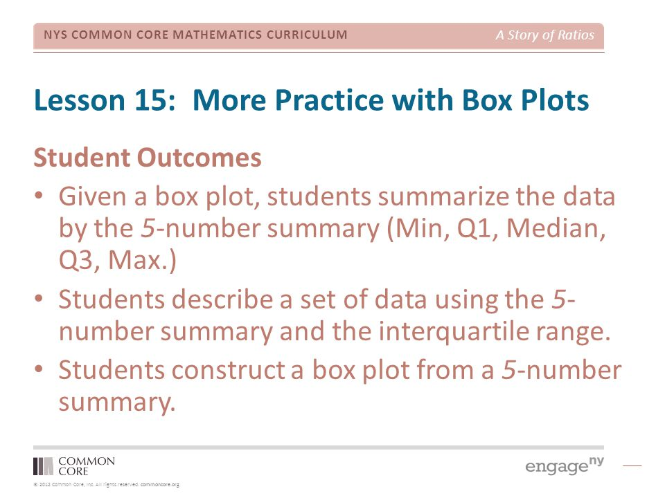 © 2012 Common Core, Inc. All rights reserved. commoncore.org NYS COMMON CORE MATHEMATICS CURRICULUM A Story of Ratios Lesson 15: More Practice with Bo