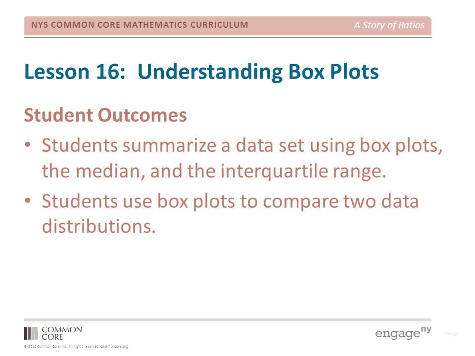 © 2012 Common Core, Inc. All rights reserved. commoncore.org NYS COMMON CORE MATHEMATICS CURRICULUM A Story of Ratios Lesson 16: Understanding Box Plo