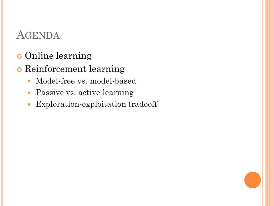 A GENDA Online learning Reinforcement learning Model-free vs.