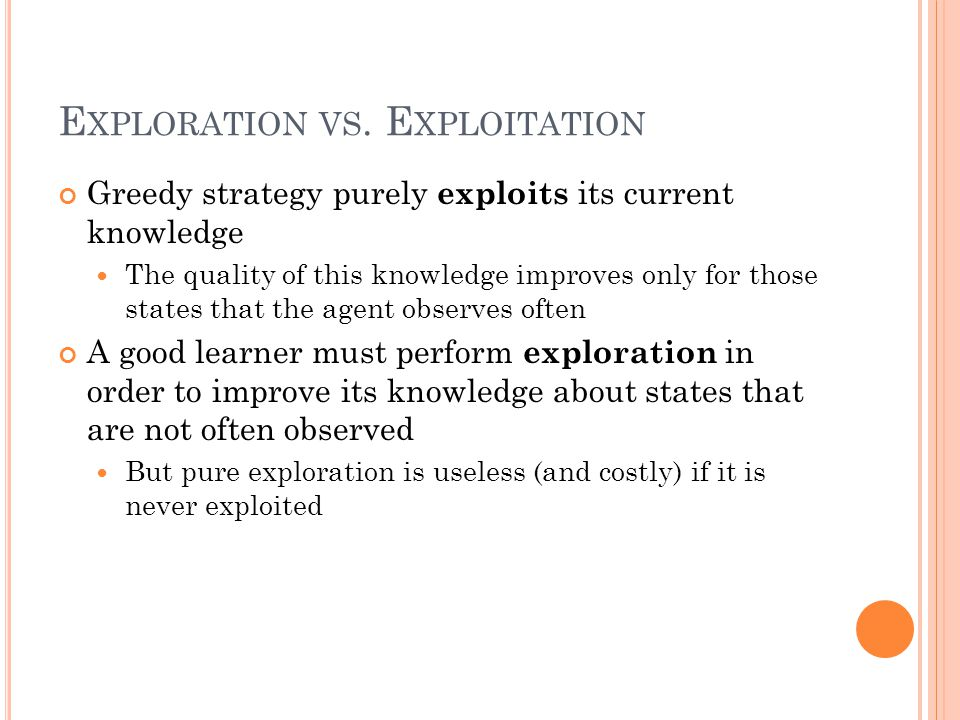 E XPLORATION VS. E XPLOITATION Greedy strategy purely exploits its current knowledge The quality of this knowledge improves only for those states that