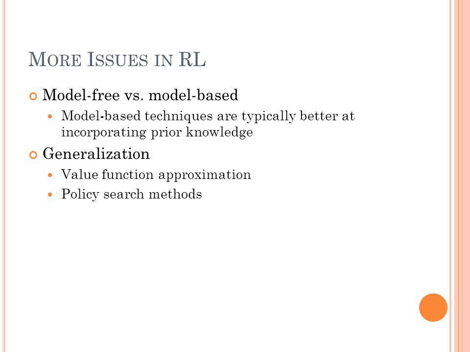 M ORE I SSUES IN RL Model-free vs.