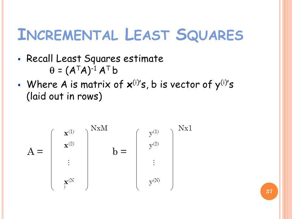 I NCREMENTAL L EAST S QUARES Recall Least Squares estimate = (A T A) -1 A T b Where A is matrix of x (i) s, b is vector of y (i) s (laid out in rows) 37 A = x (1) x (2) x (N ) … b = y (1) y (2) y (N) … NxMNx1