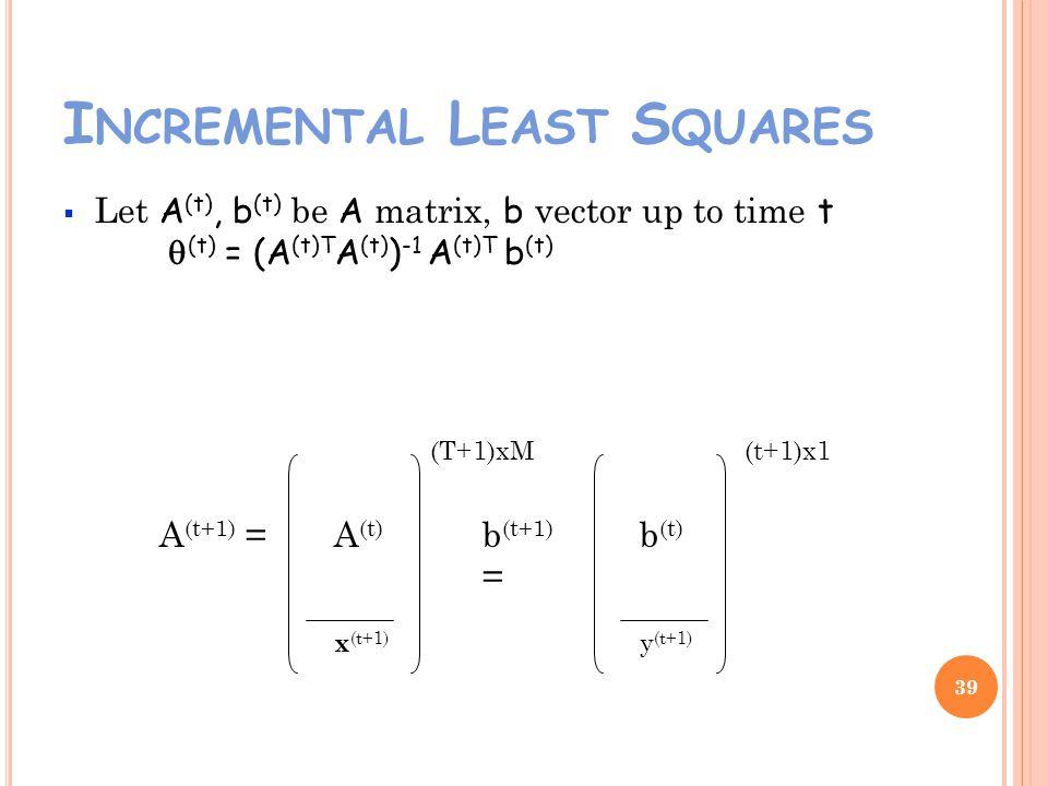 I NCREMENTAL L EAST S QUARES Let A (t), b (t) be A matrix, b vector up to time t (t) = (A (t)T A (t) ) -1 A (t)T b (t) 39 A (t+1) = x (t+1) b (t+1) = y (t+1) (T+1)xM(t+1)x1 b (t) A (t)