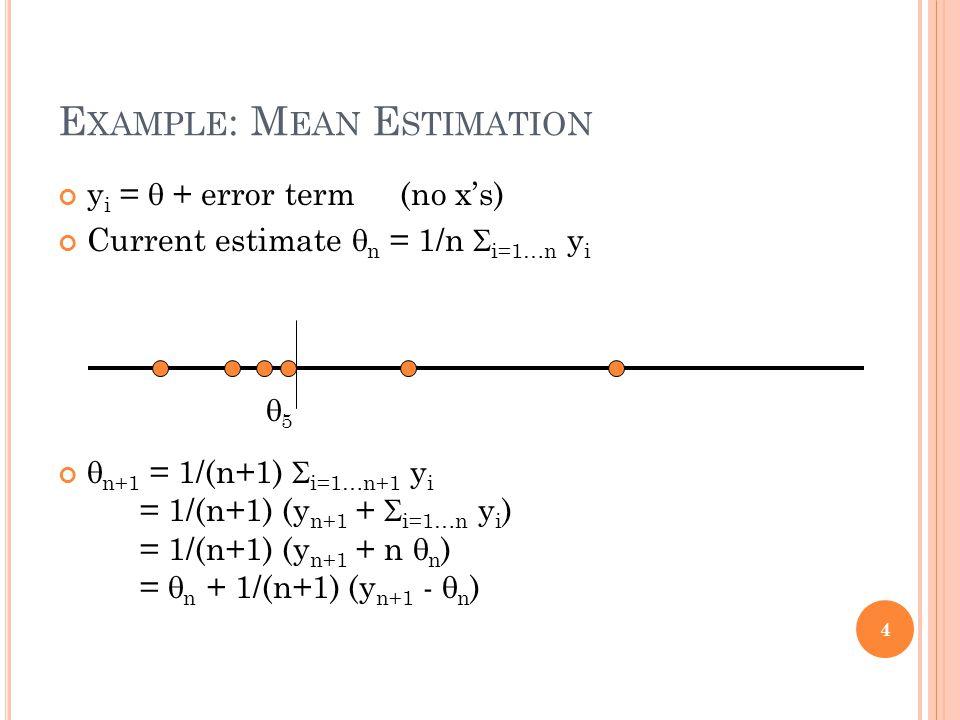 E XAMPLE : M EAN E STIMATION y i = + error term (no xs) Current estimate n = 1/n i=1…n y i n+1 = 1/(n+1) i=1…n+1 y i = 1/(n+1) (y n+1 + i=1…n y i ) = 1/(n+1) (y n+1 + n n ) = n + 1/(n+1) (y n+1 - n ) 4 5