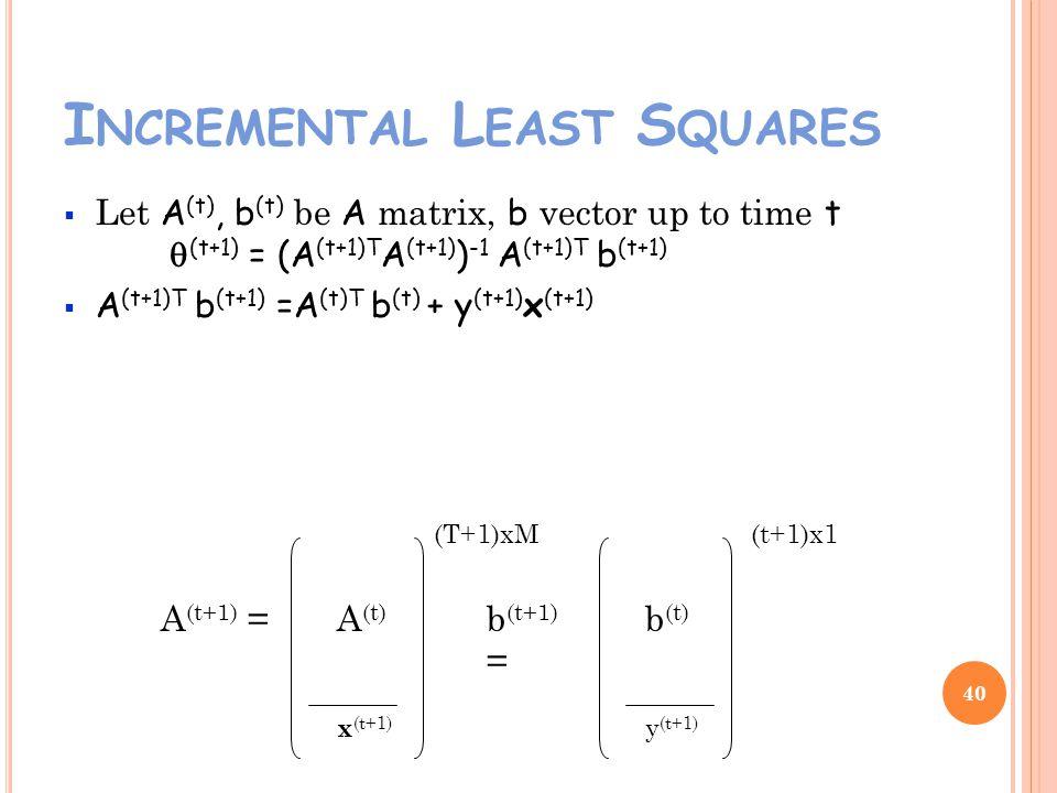 I NCREMENTAL L EAST S QUARES Let A (t), b (t) be A matrix, b vector up to time t (t+1) = (A (t+1)T A (t+1) ) -1 A (t+1)T b (t+1) A (t+1)T b (t+1) =A (t)T b (t) + y (t+1) x (t+1) 40 A (t+1) = x (t+1) b (t+1) = y (t+1) (T+1)xM(t+1)x1 b (t) A (t)