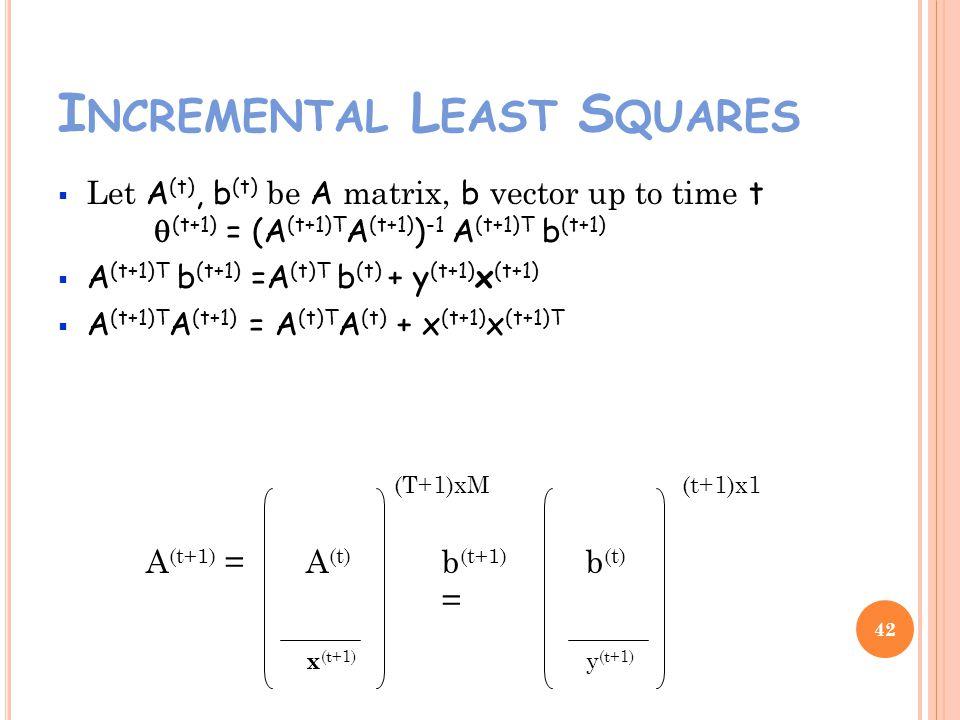 I NCREMENTAL L EAST S QUARES Let A (t), b (t) be A matrix, b vector up to time t (t+1) = (A (t+1)T A (t+1) ) -1 A (t+1)T b (t+1) A (t+1)T b (t+1) =A (t)T b (t) + y (t+1) x (t+1) A (t+1)T A (t+1) = A (t)T A (t) + x (t+1) x (t+1)T 42 A (t+1) = x (t+1) b (t+1) = y (t+1) (T+1)xM(t+1)x1 b (t) A (t)