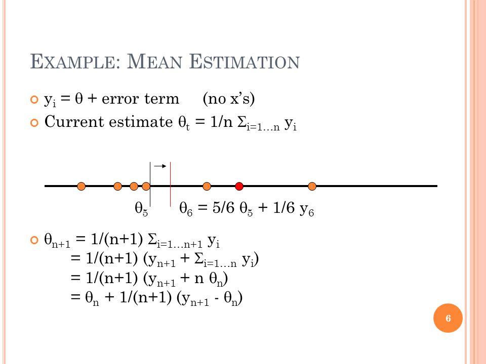 E XAMPLE : M EAN E STIMATION y i = + error term (no xs) Current estimate t = 1/n i=1…n y i n+1 = 1/(n+1) i=1…n+1 y i = 1/(n+1) (y n+1 + i=1…n y i ) = 1/(n+1) (y n+1 + n n ) = n + 1/(n+1) (y n+1 - n ) 6 5 6 = 5/6 5 + 1/6 y 6