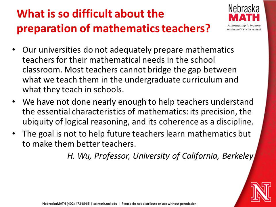 What is so difficult about the preparation of mathematics teachers.