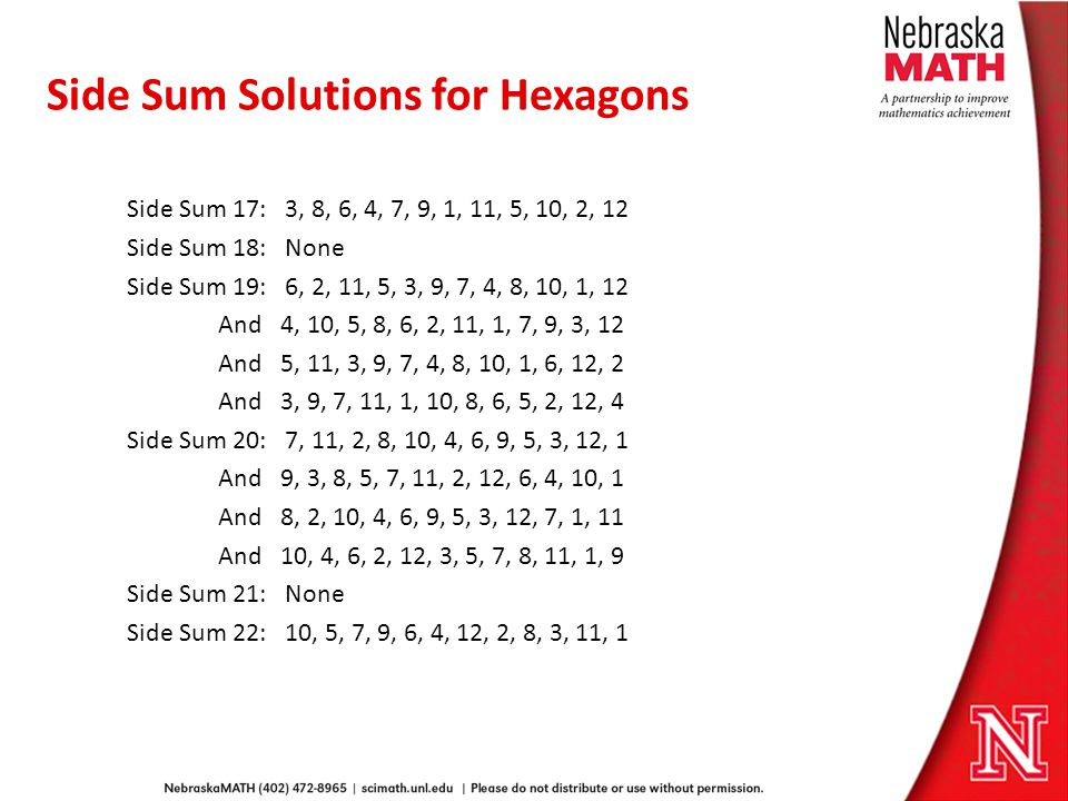 Side Sum Solutions for Hexagons Side Sum 17: 3, 8, 6, 4, 7, 9, 1, 11, 5, 10, 2, 12 Side Sum 18: None Side Sum 19: 6, 2, 11, 5, 3, 9, 7, 4, 8, 10, 1, 12 And 4, 10, 5, 8, 6, 2, 11, 1, 7, 9, 3, 12 And 5, 11, 3, 9, 7, 4, 8, 10, 1, 6, 12, 2 And 3, 9, 7, 11, 1, 10, 8, 6, 5, 2, 12, 4 Side Sum 20: 7, 11, 2, 8, 10, 4, 6, 9, 5, 3, 12, 1 And 9, 3, 8, 5, 7, 11, 2, 12, 6, 4, 10, 1 And 8, 2, 10, 4, 6, 9, 5, 3, 12, 7, 1, 11 And 10, 4, 6, 2, 12, 3, 5, 7, 8, 11, 1, 9 Side Sum 21: None Side Sum 22: 10, 5, 7, 9, 6, 4, 12, 2, 8, 3, 11, 1