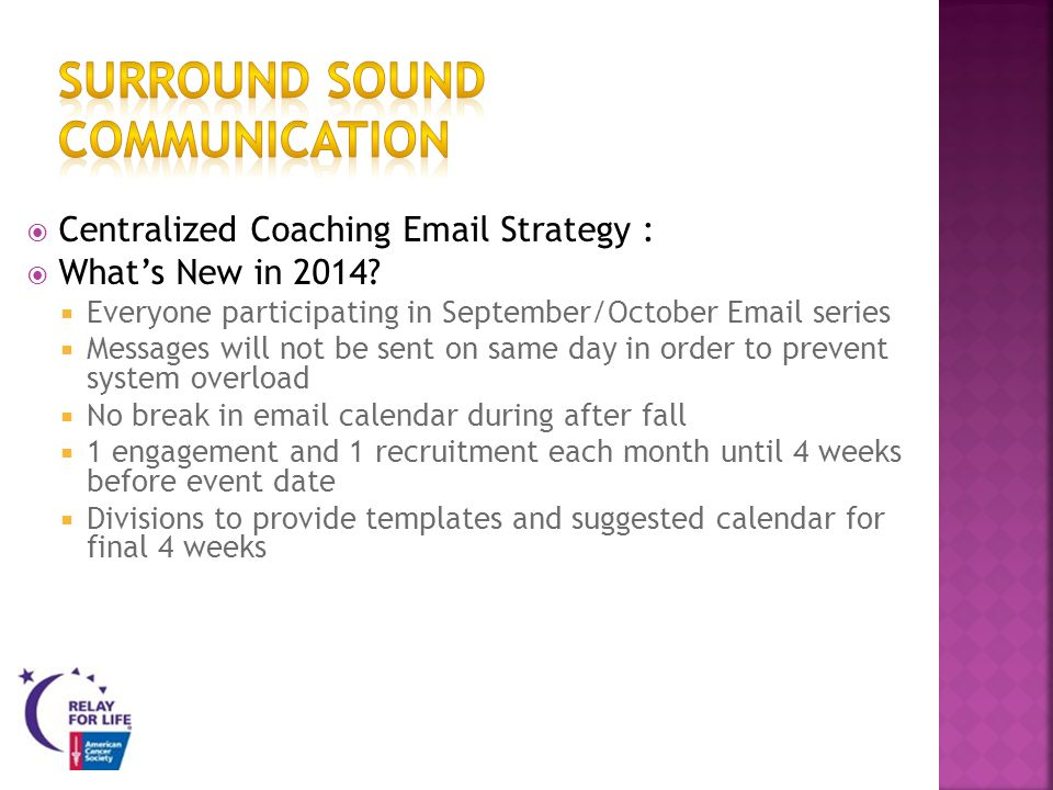 Centralized Coaching Email Strategy : Whats New in 2014.