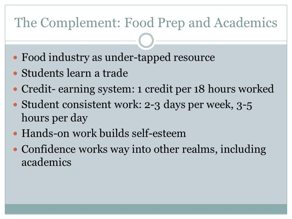 The Complement: Food Prep and Academics Food industry as under-tapped resource Students learn a trade Credit- earning system: 1 credit per 18 hours worked Student consistent work: 2-3 days per week, 3-5 hours per day Hands-on work builds self-esteem Confidence works way into other realms, including academics