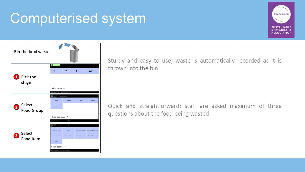 Computerised system Sturdy and easy to use; waste is automatically recorded as it is thrown into the bin Quick and straightforward; staff are asked maximum of three questions about the food being wasted