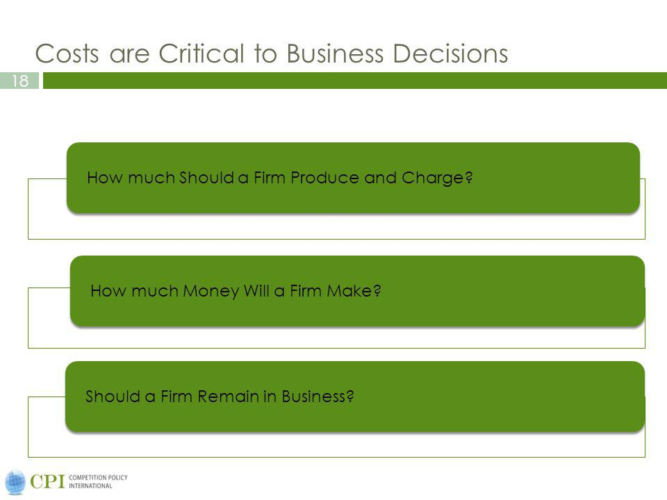 18 Costs are Critical to Business Decisions How much Should a Firm Produce and Charge?How much Money Will a Firm Make? Should a Firm Remain in Busines