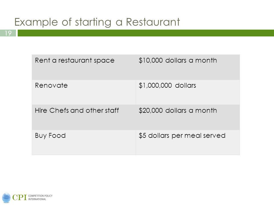19 Example of starting a Restaurant Rent a restaurant space$10,000 dollars a month Renovate$1,000,000 dollars Hire Chefs and other staff$20,000 dollar