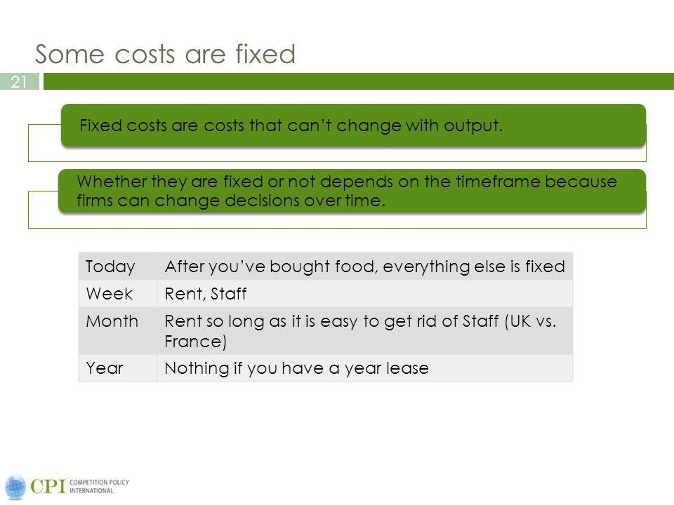 21 Some costs are fixed Fixed costs are costs that cant change with output. Whether they are fixed or not depends on the timeframe because firms can c
