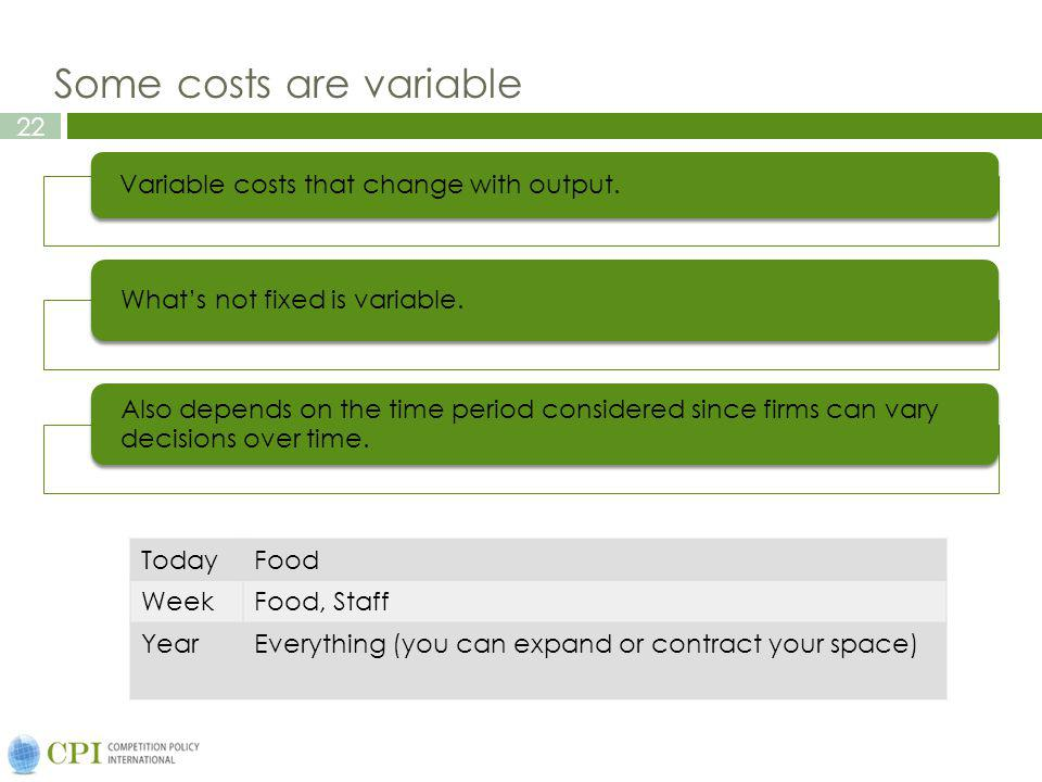 22 Some costs are variable Variable costs that change with output.