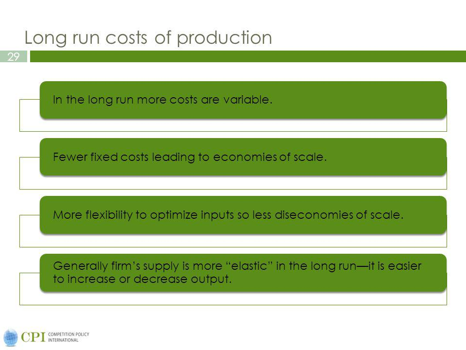 29 Long run costs of production In the long run more costs are variable.