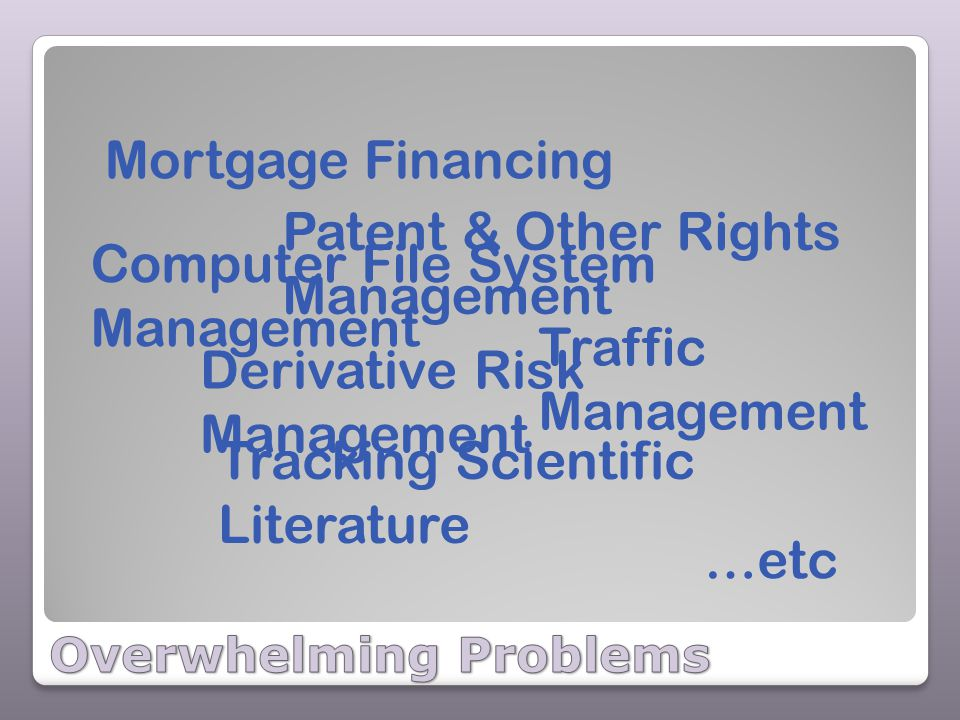 Mortgage Financing Derivative Risk Management Tracking Scientific Literature Patent & Other Rights Management Traffic Management Computer File System