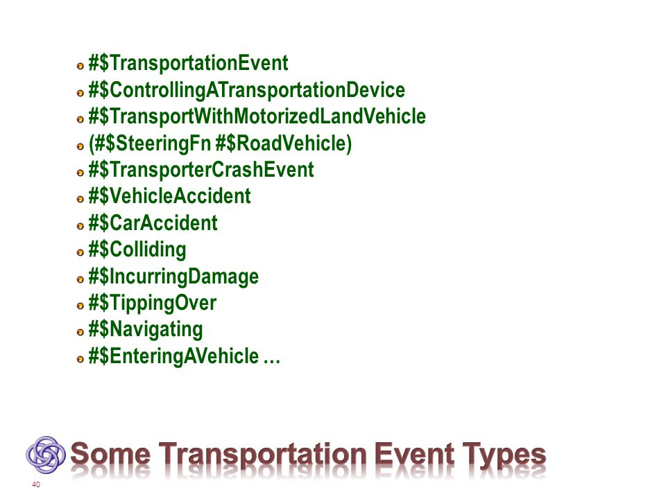 40 #$TransportationEvent #$ControllingATransportationDevice #$TransportWithMotorizedLandVehicle (#$SteeringFn #$RoadVehicle) #$TransporterCrashEvent #