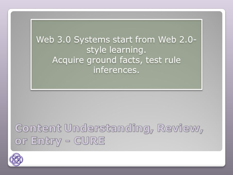 Web 3.0 Systems start from Web 2.0- style learning.