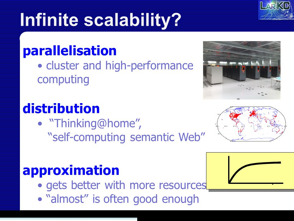 Infinite scalability? distribution Thinking@home, self-computing semantic Web approximation gets better with more resources almost is often good enoug