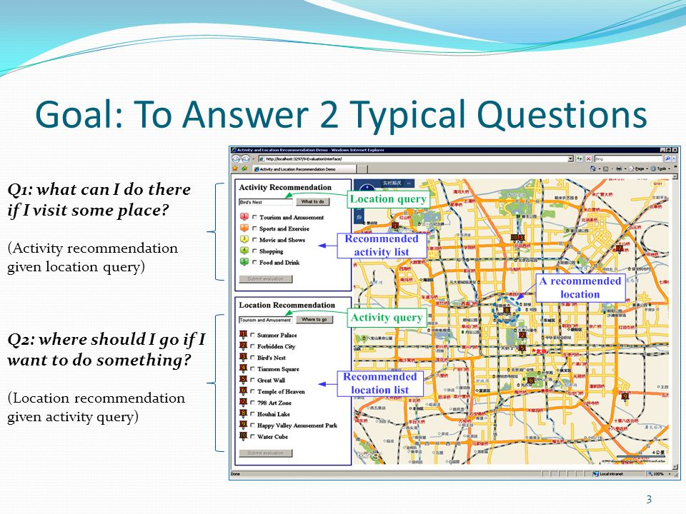 Goal: To Answer 2 Typical Questions 3 Q2: where should I go if I want to do something.