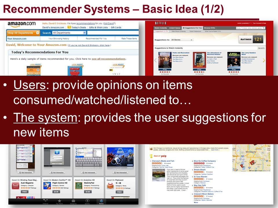 3 Analyze user behavior to recommend personalized and interesting things to do/read/see rate movies Movie Ratings build recommendation model Similar Users Similar Items recommendation query Recommend user A five movies Collaborative filtering process is the most commonly used one in Recommender Systems Recommender Systems – Basic Idea (2/2)