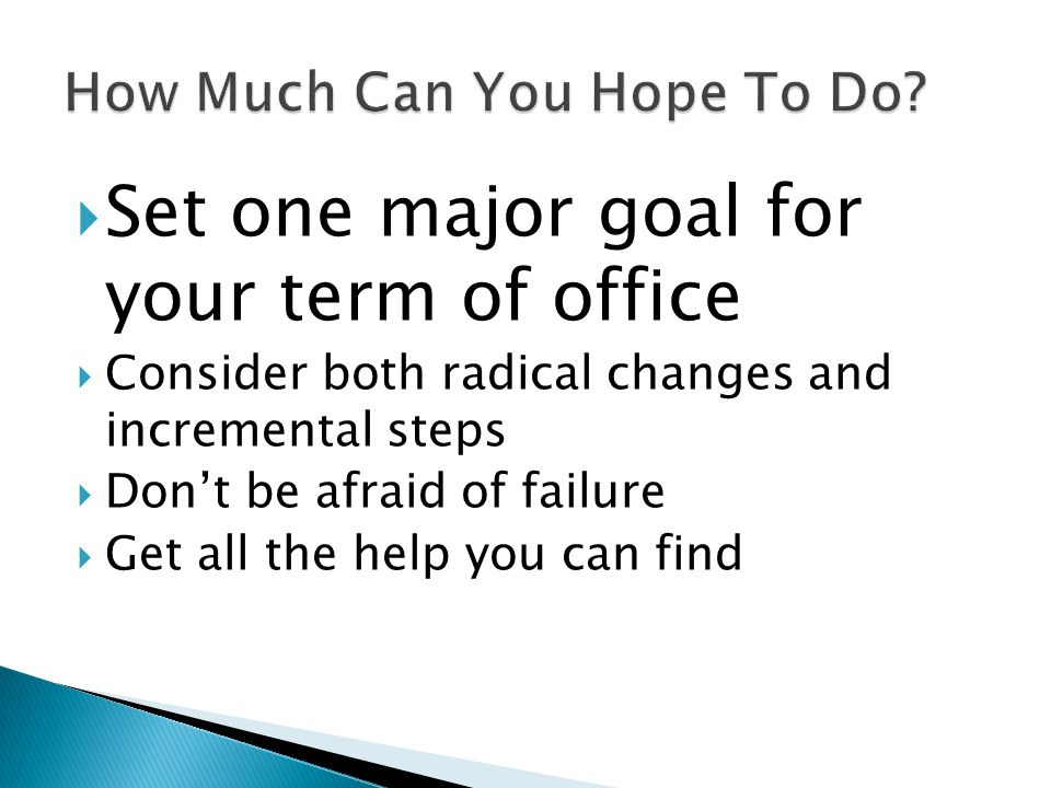 Set one major goal for your term of office Consider both radical changes and incremental steps Dont be afraid of failure Get all the help you can find