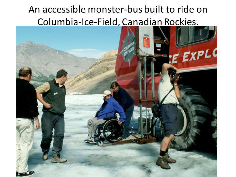 An accessible monster-bus built to ride on Columbia-Ice-Field, Canadian Rockies.